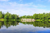 Summer park landscape with mirror reflection on the water. Beautiful summer landscape