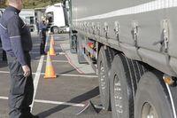 Traffic control, police control, trucks,