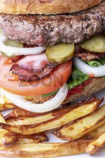 Nahaufnahme eines Hamburgers mit Pommes frites