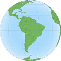 Earth globe with focused on South America