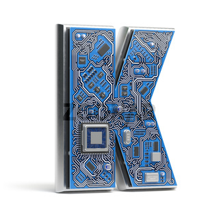 Letter K.  Alphabet in circuit board style. Digital hi-tech letter isolated on white.