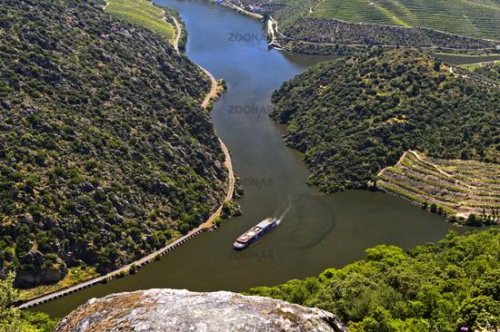 Exkursion ship on the Douro River near Sao Joao da Pesqueira, Viseu District, Portugal