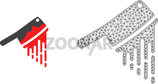 Vector Polygonal Mesh Blood Butchery Knife and Flat Icon