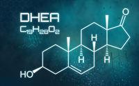 Chemical formula of DHEA on a futuristic background