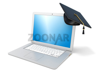 Graduation cap on laptop. E-learning concept. 3D