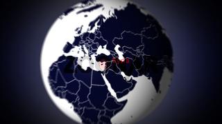 tracking shot land towards Syria