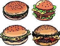 set collection Burger hamburger cheeseburger