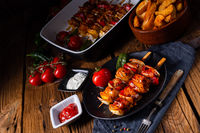 marinated kebab skewers with meat and vegetables