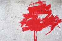 Red color blob of paint strokes