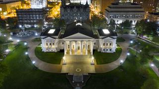 Aerial View Virginia State Capital Building Downtown Urban Center Richmond