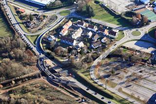 Maulburg, Stauursache durch Brückenbaustelle und Behelfsbrücke an der B317