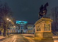 Monument of Peter the Great in front of the St. Michael's Castle in Saint Petersburg, Russia
