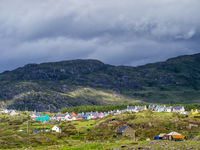 Colourful village of Eyeries at County Kerry in Ireland