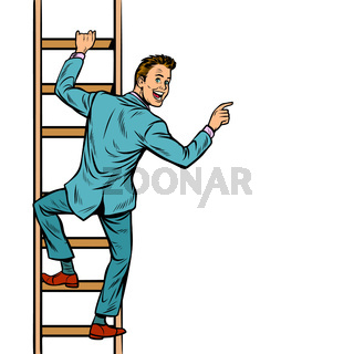businessman climbs stairs, man points to copy space
