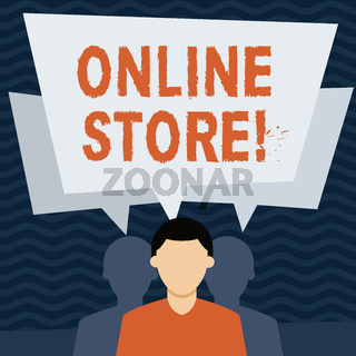 Handwriting text Online Store. Concept meaning website by means of which goods or services sold over Internet Faceless Man has Two Shadows Each has Their Own Speech Bubble Overlapping.