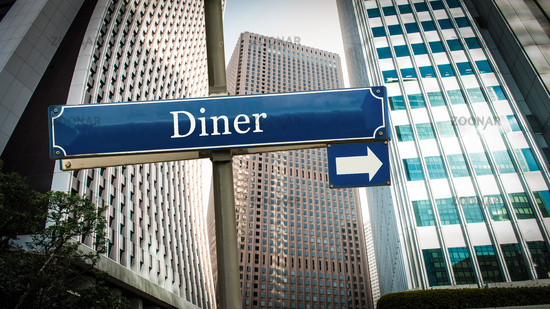 Street Sign to Diner