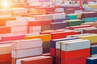 container yard in sunset