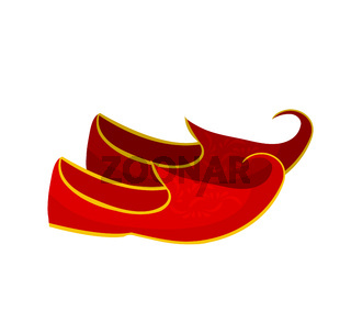 Turkish red shoes with a curved toe. Khussa flat style. Isolated on white background. Vector illustration