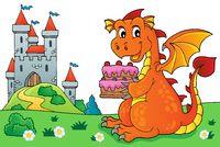 Dragon holding cake theme image 5