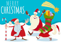 Christmas design with cartoon Santa Claus and presents