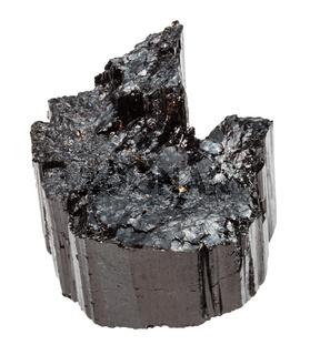 raw crystal of black Tourmaline (Schorl) isolated