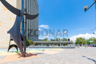 bull sculpture and building of Ministry of Agriculture and Livestock Quito Ecuador