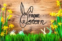 Easter Decoration, Spring Flower Calligraphy Frohe Ostern Means Happy Easter