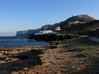 View from Les Rotes, beach in Denia, Spain.