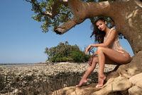 Beautiful  woman on the tropical island