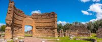 roman ruins panoramic Villa Adriana in Tivoli Rome - Lazio - Italy crumbled gate of the Ninfeo palace