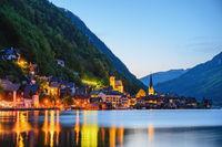 Hallstatt Austria, night nature landscape of Hallstatt village with lake and mountain
