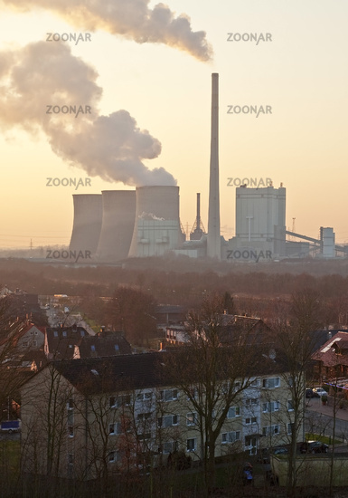 residential area and Gersteinwerk power station, Hamm, Ruhr Area, Germany, Europe