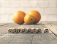 Vitamin C on wooden blocks