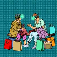 Elderly women online shopping, virtual reality and VR glasses
