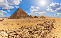 The Pyramid of Menkaure and the rocks in the desert of Giza, Egypt
