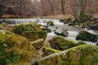 small waterfall in springtime