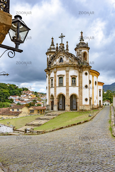 Ancient historical catholic church and buildings around in the city of Ouro Preto