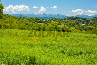 hills and Italian Apennines on a sunny day