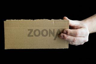 Schild aus Pappe mit Textfreiraum