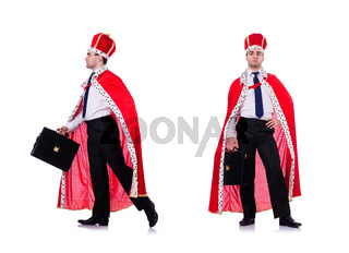 King businessman isolated on white