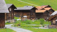 Old timber chalets in Obermutten, Switzerland.