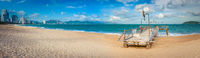 Scenic beautiful view of Nha Trang beach. Panorama