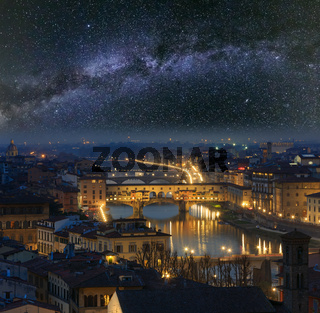Night Florence top view and Milky Way, Italy