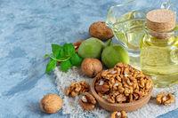 Cold pressed walnut oil and walnut kernel.