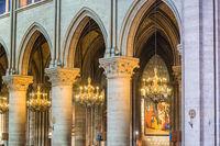 Interior of cathedral Notre-Dame de Paris