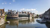 Ghent, Belgium - June 13, 2017: View of the old fish market or Oude Vismijn