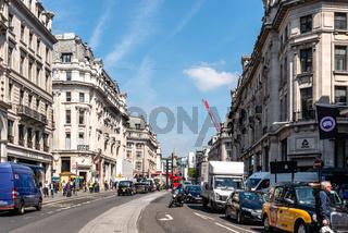 Busy London street scene on Regent Street