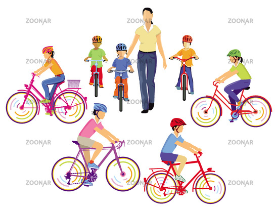Children learn to ride a bicycle