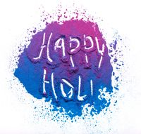 Abstract colorful Happy Holi background. Color vibrant powder isolated on white. Dust colored splash texture.
