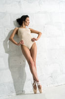 Slim sexy brunette on pointe leaning against wall